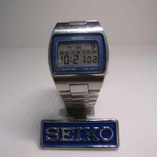 "Seiko M154 lcd watch with original SQ Band 1977 vintage used (for 6 1/2"" or below wrist only)"