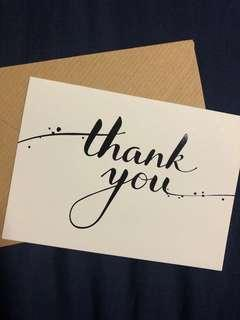Paper pressed thank you card