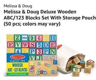 🚚 Melissa & Doug ABC•123 Wooden Blocks $20