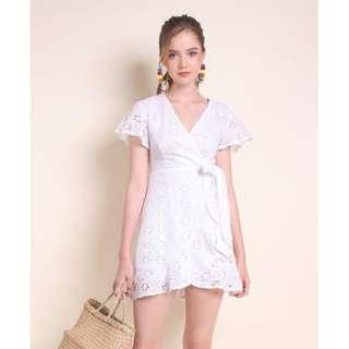 1a336e6988e NEONMELLO MADEBYNM DARLENE EYELET HI-LO WRAPPED FLUTTER DRESS IN WHITE