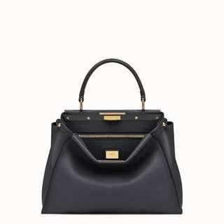Brand New FENDI PEEKABOO REGULAR in Black Calf Leather
