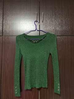 Green Long Sleeve Body con top