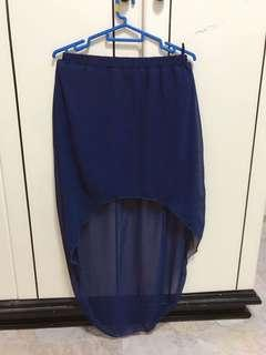 (3 for $12) high low navy skirt