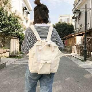 Warm White Cream Korean Backpack ulzzang off putih tas punggung sekolah school