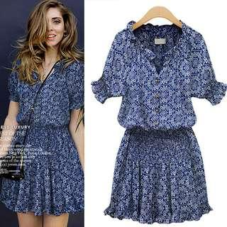 🚚 Blue floral Casual dress