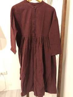 質感 中山領 洋裝 深紫紅