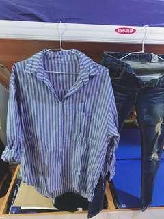 寬鬆直條襯衫