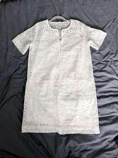 Club monaco white lace shift dress