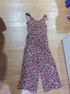 花花紅色復古洋裝