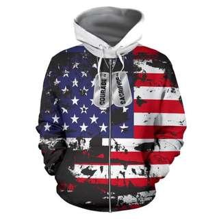 🎁 American Flag and Tags Zipped-up Hoodie