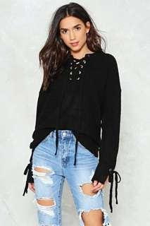 Lace Up Sweater Pullover