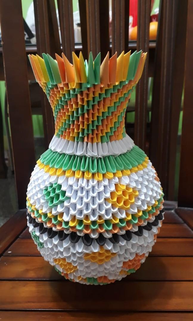 origami flower easy: 3d origami vase easy | 1080x648
