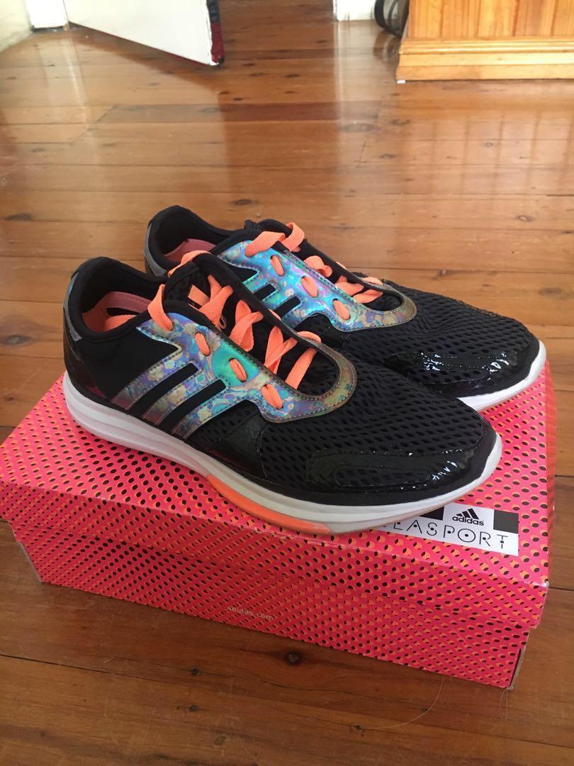 ADIDAS X STELLA MCCARTNEY Adidas Stellasport fluro pink/orange and holographic gym shoes/runners