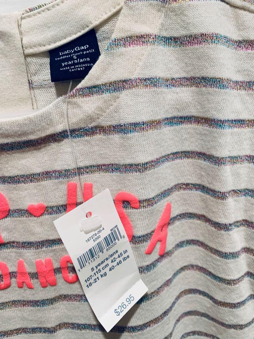 BabyGap Girls Striped Short Sleeve Knit Dress(Size 5 years)