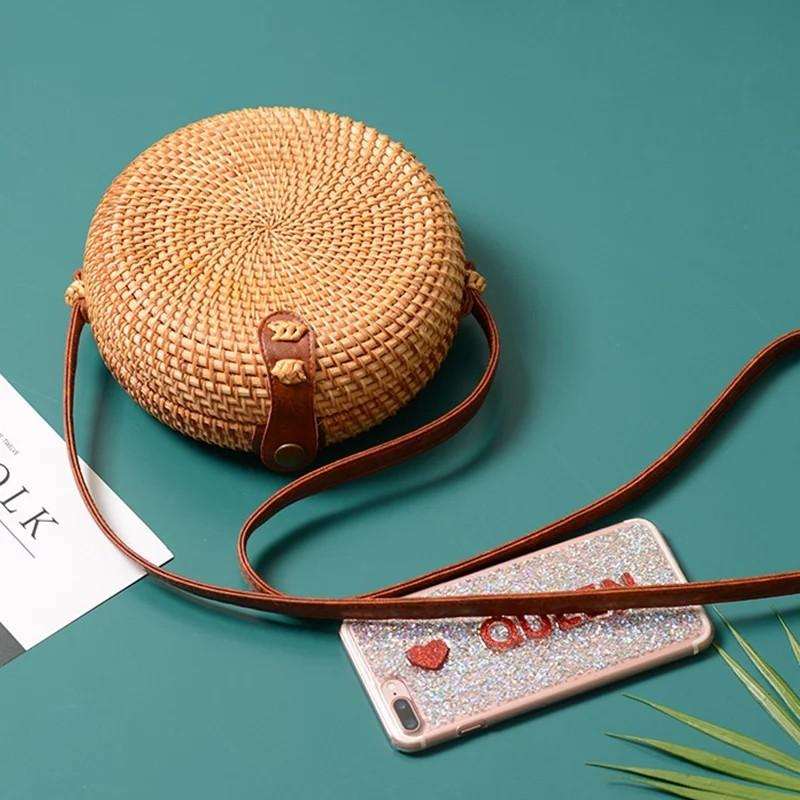 Bag Handbags Women Summer Rattan Bag Handmade Woven Beach Circle Bohemia Handbag New Fashion