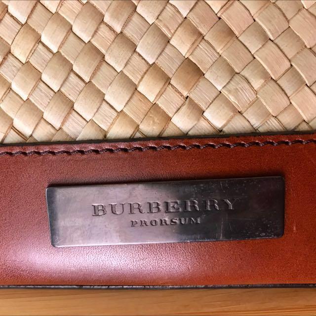 Burberry 正品休閒籐編包 金屬橫槓包口設計手提包