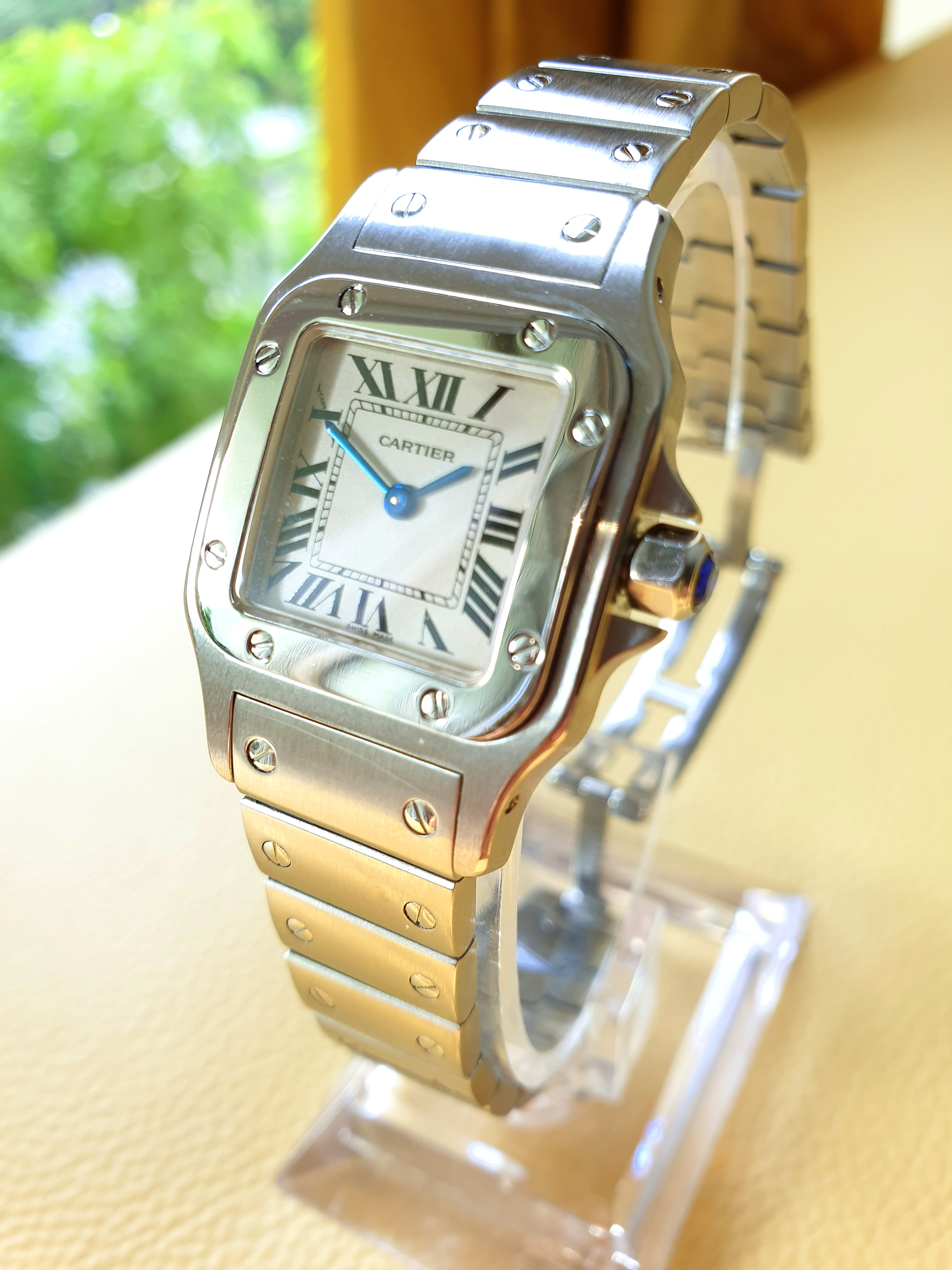 33bb933c35b9 Cartier Santos White Roman Dial Ladies Steel Quartz