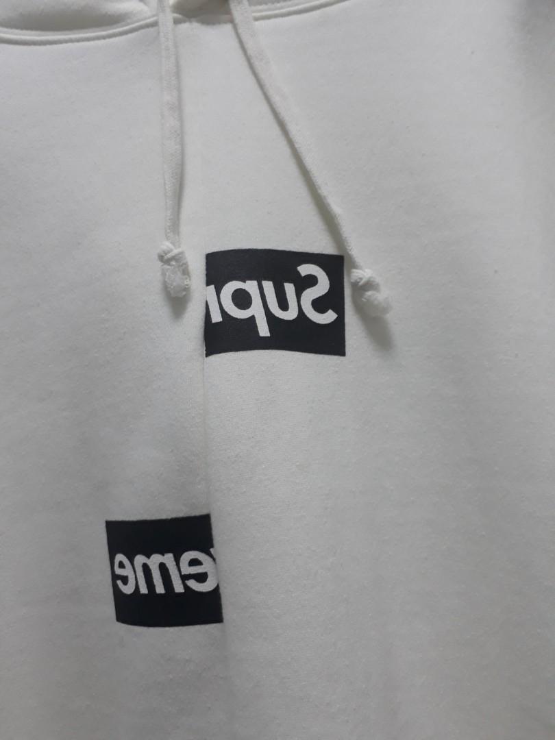 d05f60935ecc Cdg x supreme oversized fit cream white hoodie