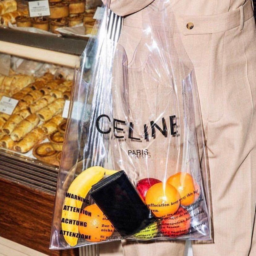 CELINE clear PVC plastic tote bag with a mint green handbag