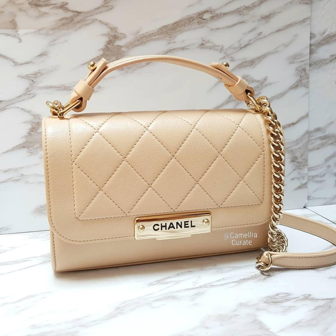 [100% AUTH] Chanel Click Label in Beige Clair mini Flap Bag with GHW