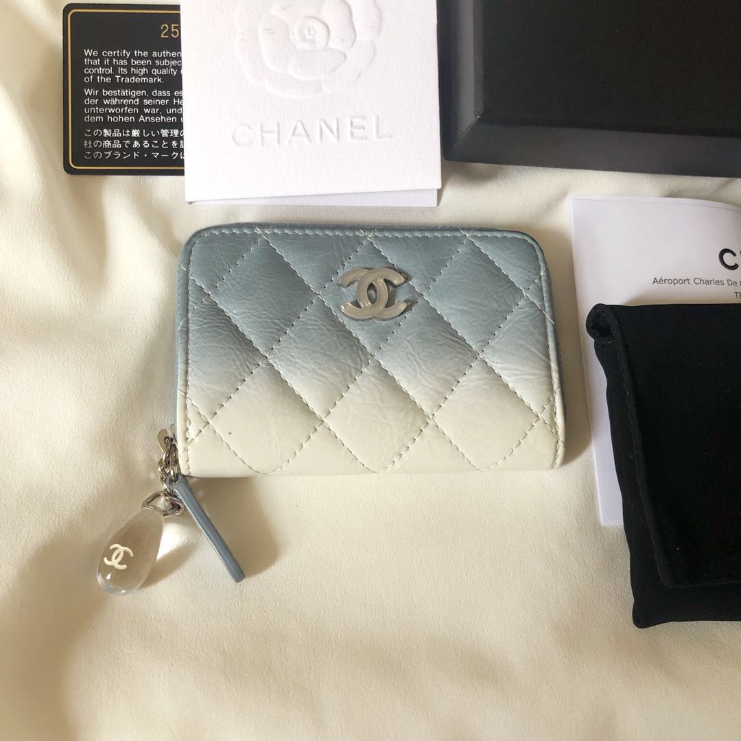 51b9a67dab8d Chanel Water droplets Limited Blue colour Lamb leather Small Zip ...