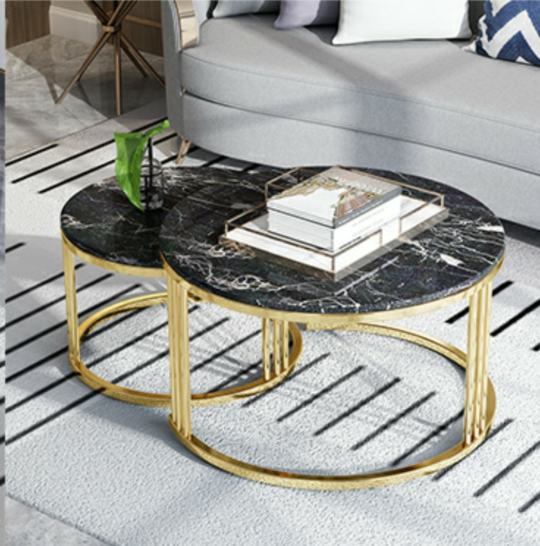 Picture of: Coffee Table Nesting Table Black Marble And Gold Furniture Tables Chairs On Carousell