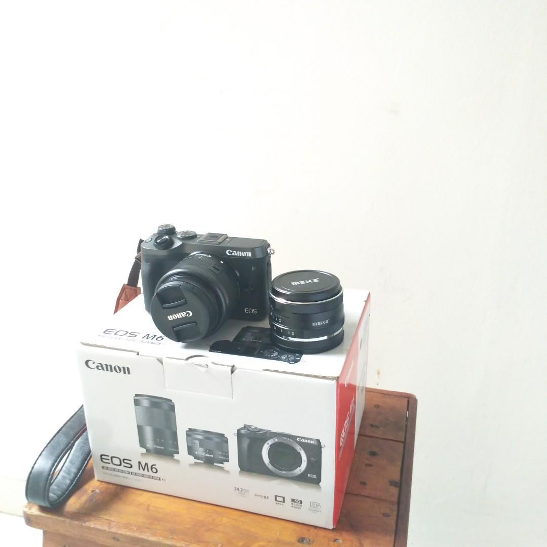 Dijual Canon EOS M6 Full Set Garansi Bonus Lensa Meike 35mm fix