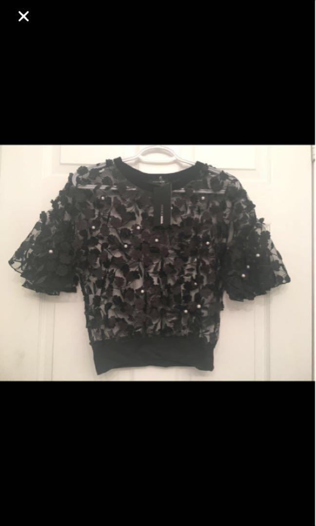 Fashion Nova - Love and Lace Chiffon Top (Black)