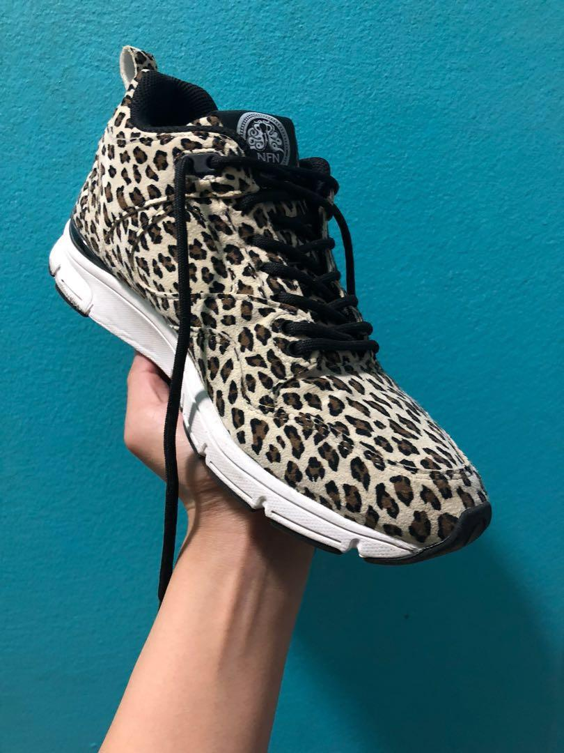 Gourmet Leopard Print Sneakers, Italian Leather size 6.5/7