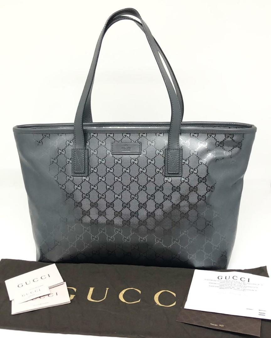 Gucci GG Impreme Grey Waterproof Canvas Tote 2014 | with Bag, Dustbag, Booklet and Receipt