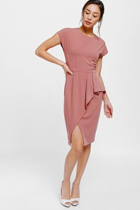 Gygle Asymmetrical Side Pleat Slit Dress