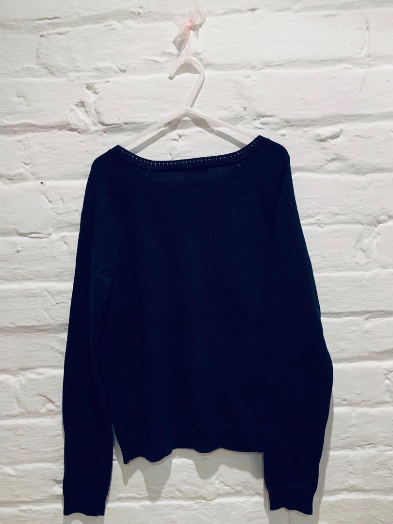 Joe Fresh Girls Knit Cardigan Navy Blue Floral(Size 10-12)