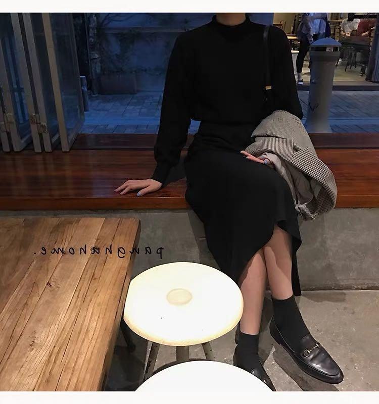 Korean style high collar knit dress