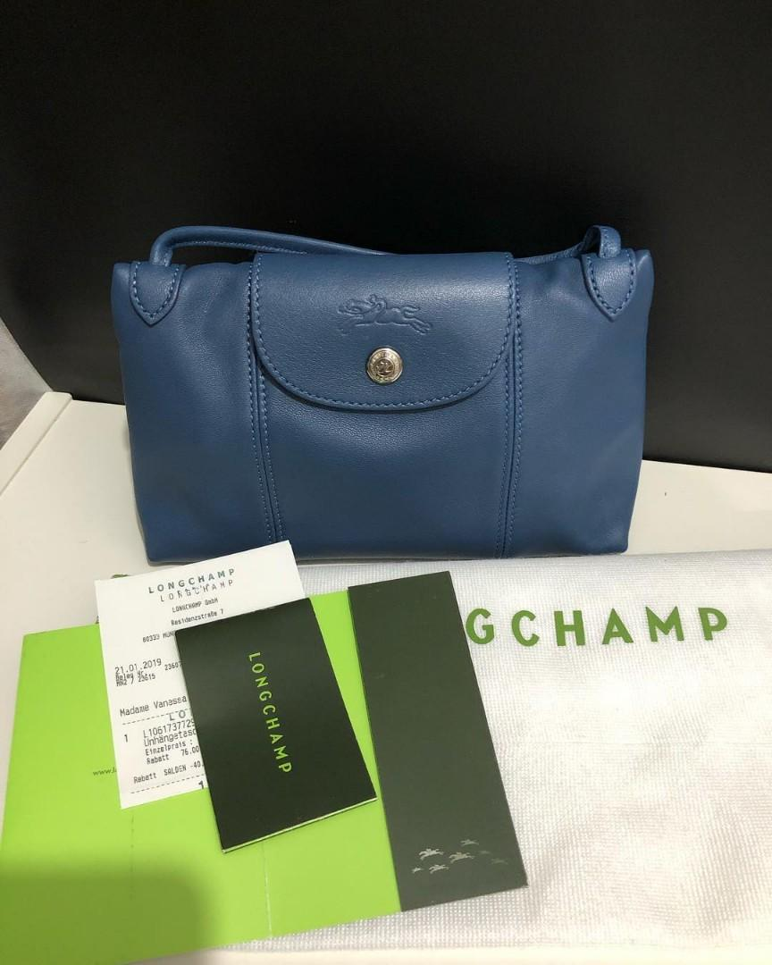 LC Cuir Crossbody Leather sz 23x16 Pilot Blue (with tag, Paperbag and receipt)