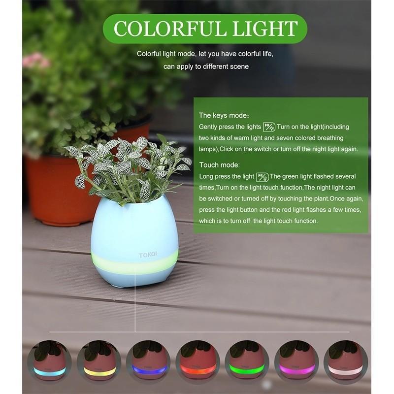 New Smart LED Flower Speaker Sensor Colorful Light Long Time Play Bluetooth Multifunctional Speaker Flowerpot Plant Pots USB Charge Waterproof Speaker