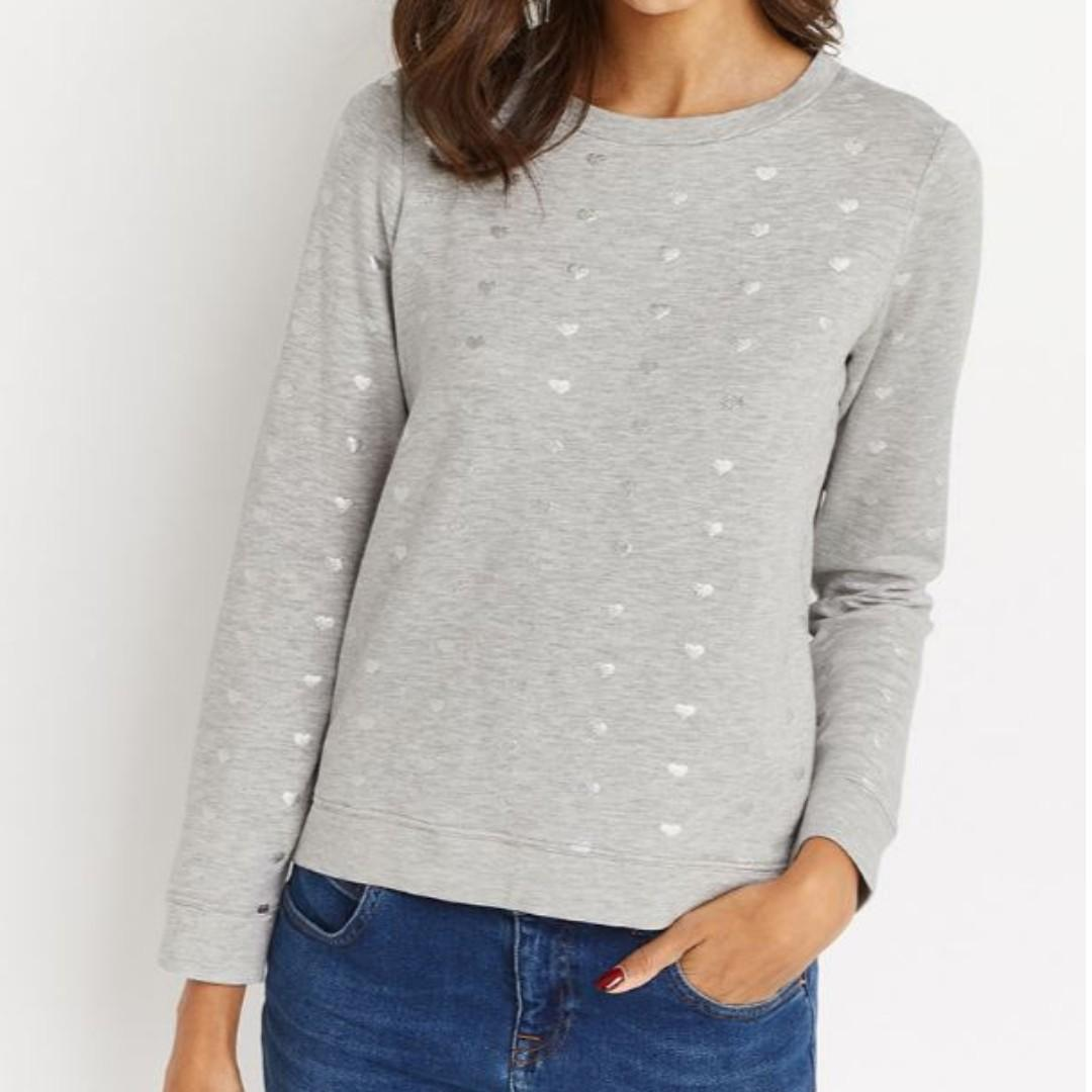 Oasis grey jumper with silver foil hearts (Size: L)