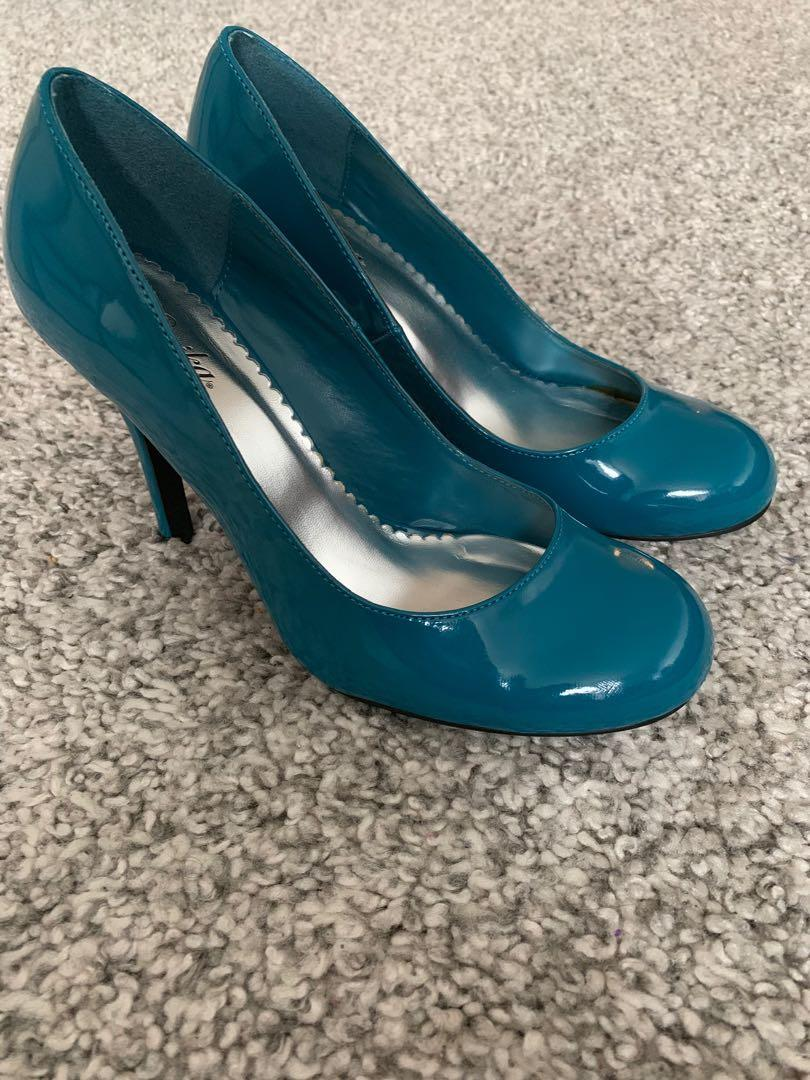 Paprika Teal Patent Round Toe Dressy Pumps 4 Inch Heels(US Size 9)