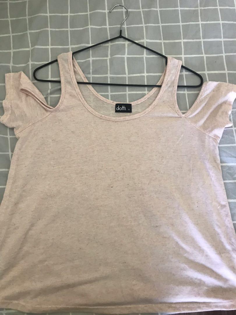 Pastel Pink cold shoulder top