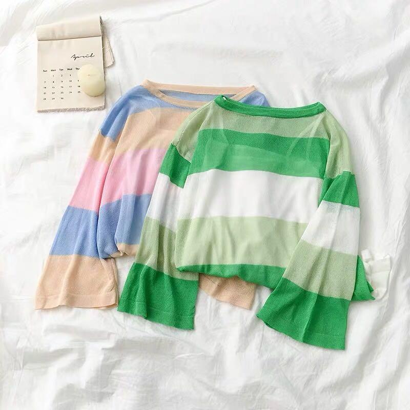 [PO] Korean Style Coloured Stripes Longsleeves Top