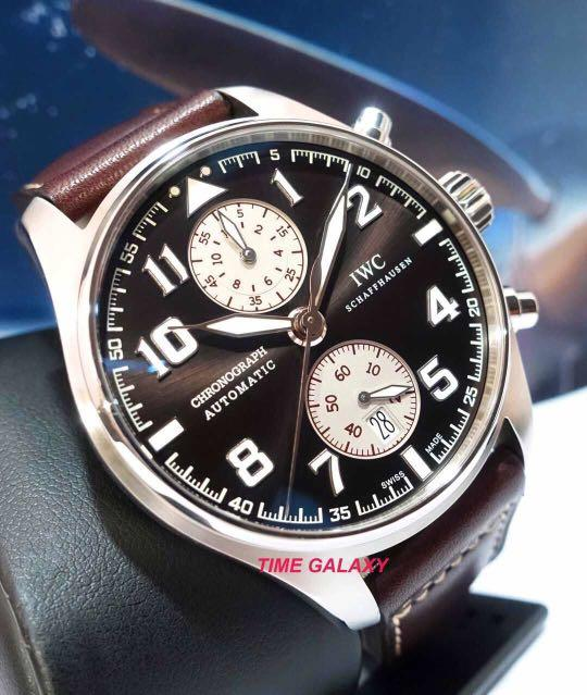 Preowned IWC Pilot's 43mm Antoine De Saint Exupery Automatic Chronograph Brown Dial Men's Watch. Model number IW387806. Swiss made.