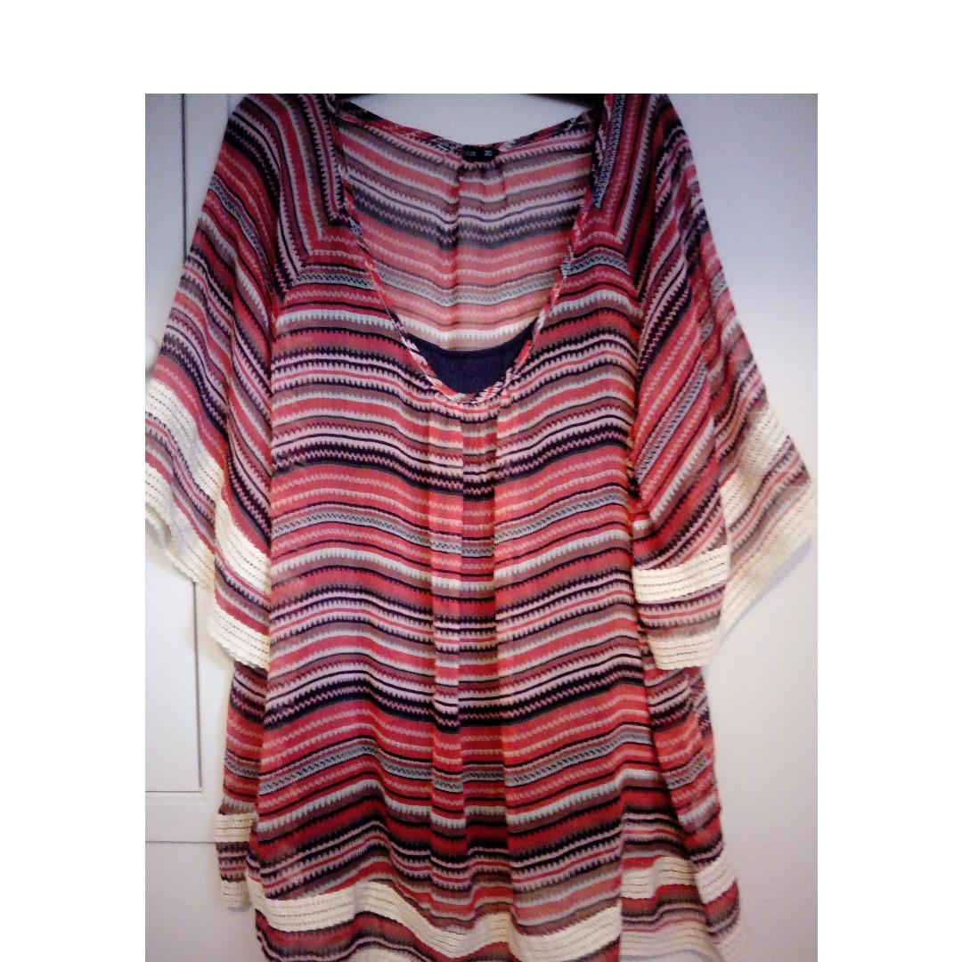 SIZES 18-22 - NEW FLOWING STRIPEY PRINT TOP - PICKUP OR DELIVERY