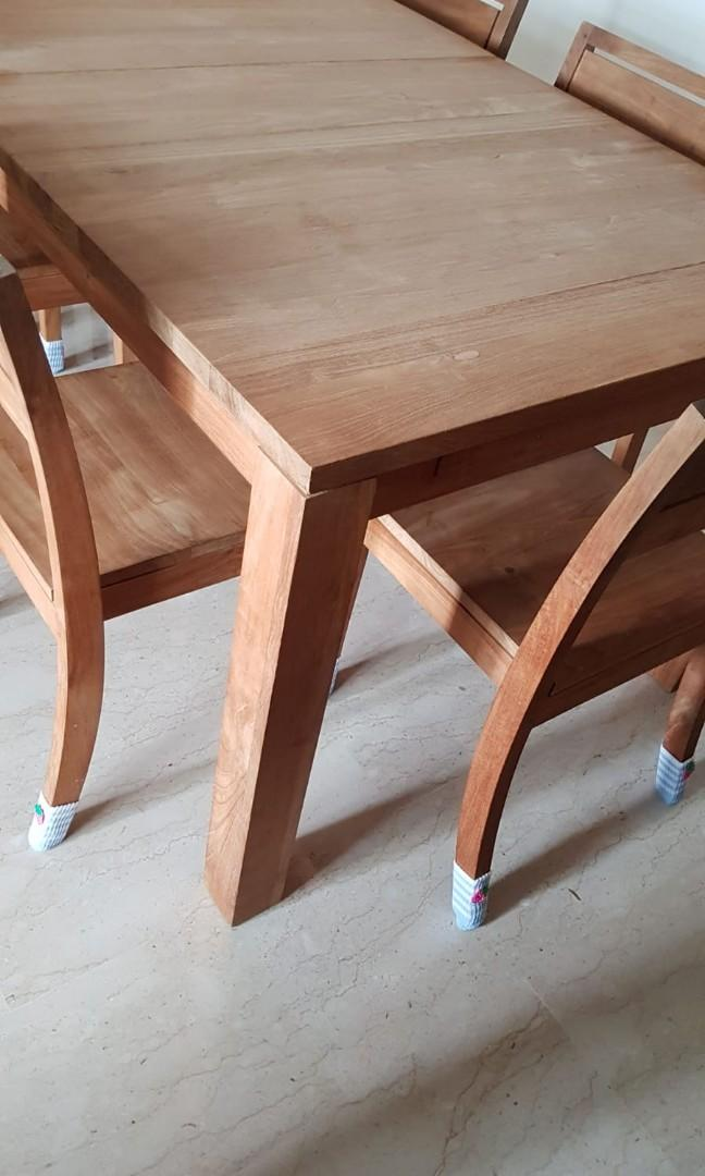 Teak dining table chairs