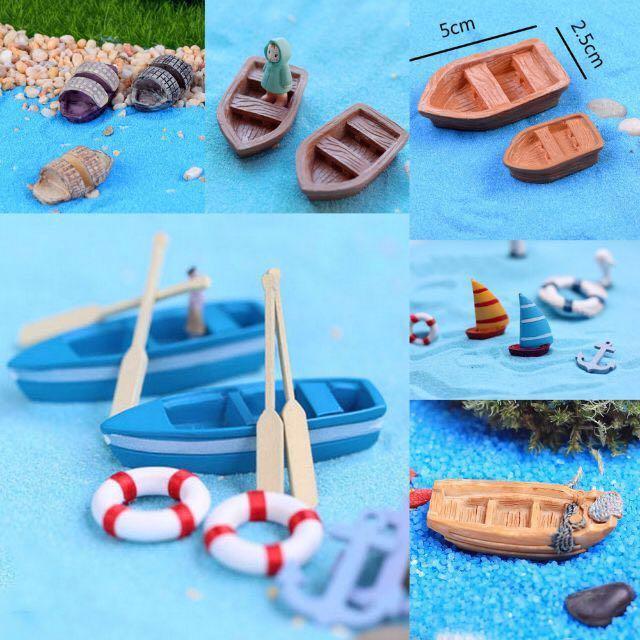 Terrarium Accessories: Ocean Theme Decoration Boat | Raft