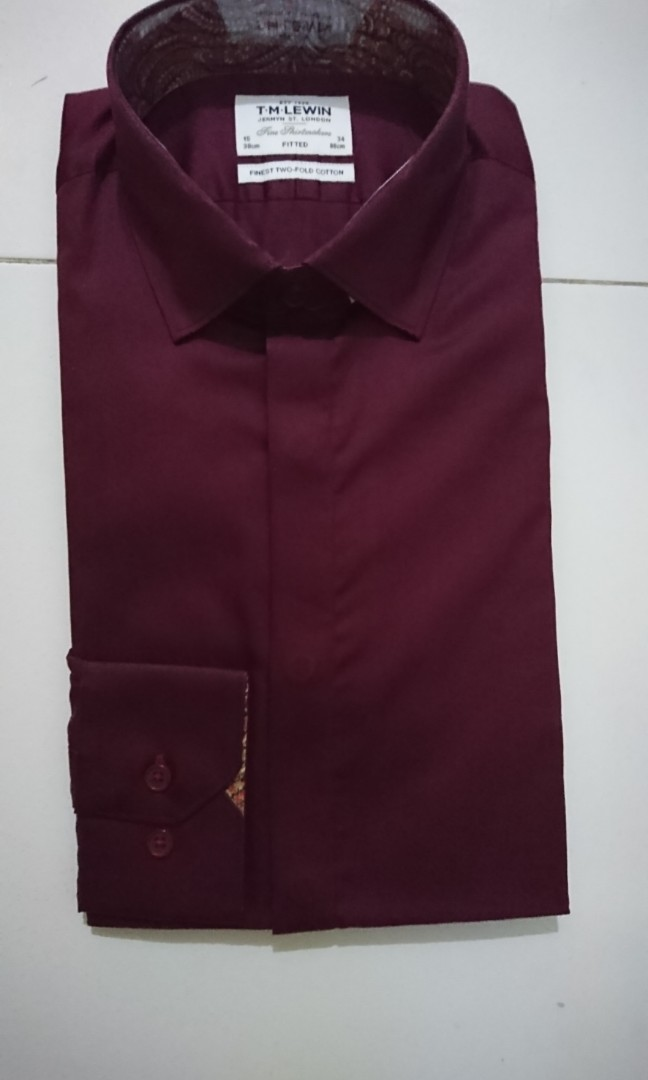 342d2976 TM Lewin Fitted Burgundy Maroon Shirt with Liberty Trimming, Men's ...