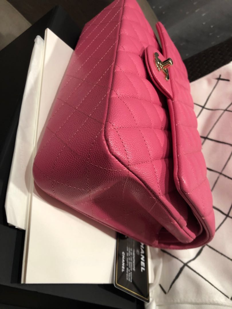 4bae60bf0cb7 Used once Chanel medium classic bag in beautiful and sought after pink from 19c  collection!, Luxury, Bags & Wallets, Handbags on Carousell