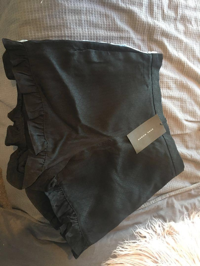 ZARA ruffle tencel high waisted denim and black shorts