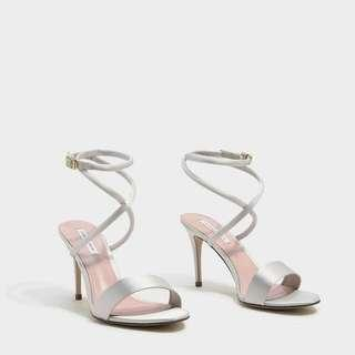 🚚 Charles & Keith Strappy Heels in Silver