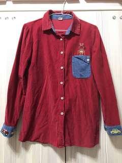🚚 紅色燈芯絨襯衫