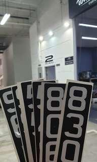 Plate number stickers escooter