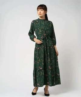日本 zozotown 購回 全新 LHELBIE 三折 古典風 花 連身裙 長裙